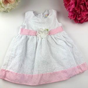 Pink/White 12 Month Dress w/ Pink Cardigan